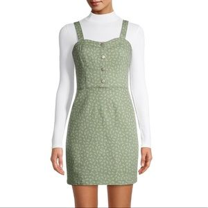 NWT Green Floral Button Front Pinafore Dress